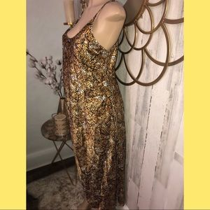 Vintage satin tiger slip maxi long dress